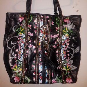 Leather ed hardy shoulder bag.